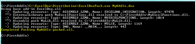 Excel-DNA Packing Tool Packing CommandLine Output
